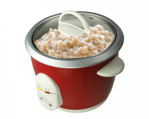 Oatmeal cooking in a rice cooker